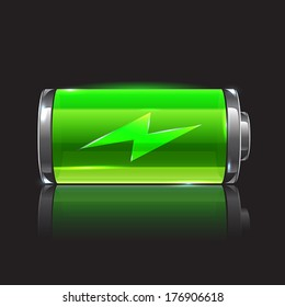Vector green battery, full charge with lighting. Alternative energy project illustration