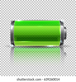 Vector Green battery, full charge. Glass realistic power battery illustration on transparent background.