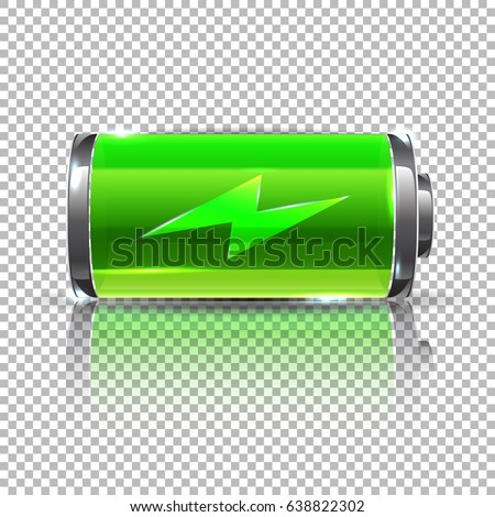Vector Green battery, full charge. Glass reaalistic power battery illustration on transparent background.