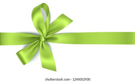 Vector green bow with horizontal ribbon isolated on white. Decorative bow for your design. Christmas or spring decoration