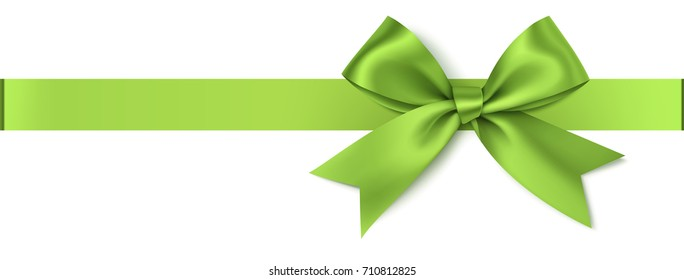 Vector green bow with horizontal ribbon isolated on white. Decorative bow for your design
