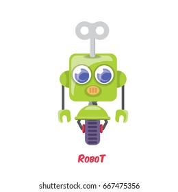 vector green cartoon cute flat robot icon isolated on white. green funny robot logo design template