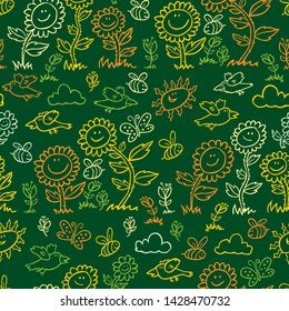 Vector green chalkboard style sunflowers, birds and bees repeat pattern. Suitable for gift wrap, textile and wallpaper.