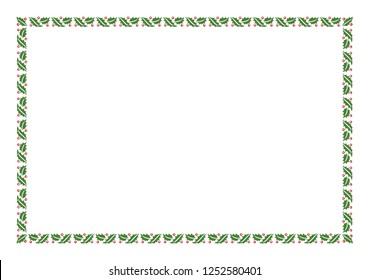 Vector Green Christmas Holly Border