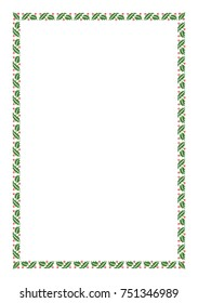 Vector Green Christmas Holly Border