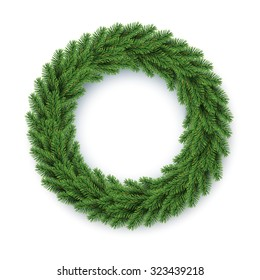 vector green christmas wreath, global colors