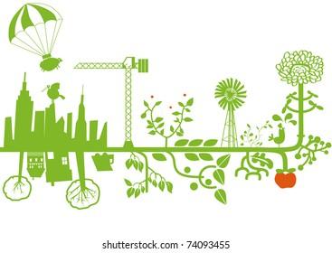 vector - green city under construction