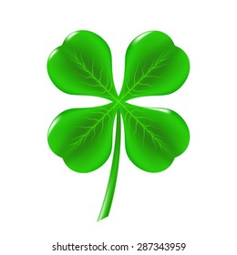 Vector Green Clover Isolated on White Background. Symbol of  St. Patricks Day. Irish Shamrock Icon.