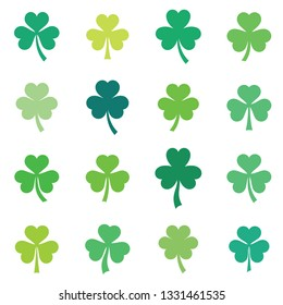 Vector green clover leaves collection isolated on white