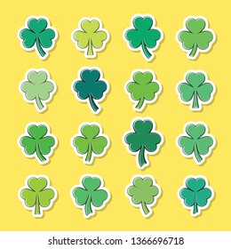 Vector green clover leaves stickers collection isolated