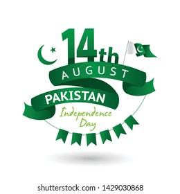 Vector green color Flat design, Illustration of Pakistan flag and  independence day design . 14th August Pakistan Independence Day concept.