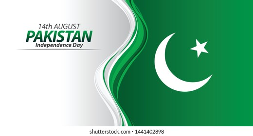 Vector green color Flat design, Illustration of Pakistan Icons and Flag. 14th August Pakistan Independence Day concept.