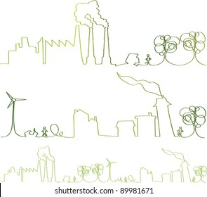 vector - green continuous line with nice hand-drawn vector elements