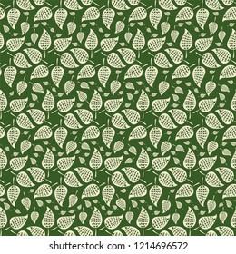 Vector green and cream abstract leaves in circular design as seamless pattern background in ornamental folk art style. Perfect for fabric, scrapbooking, giftwrap, wall paper projects, stationary