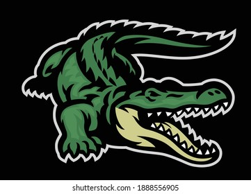 vector of green crocodile roaring mascot