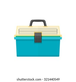 vector green cyan color flat design fishing tackle box transparency yellow top isolated illustration white background