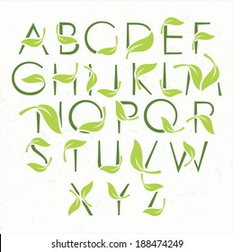 Vector green eco alphabet