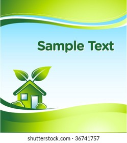 vector GREEN eco house with place for your text 1