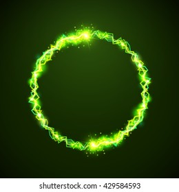 Vector green electric circles. Magic effect illustration. Bright light bolts and stars on dark background