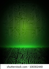 Vector green electronic background.
