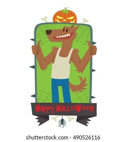 """Vector green emblem with thorns, web, pumpkin, bones, spider, banner and with cartoon image of funny brown werewolf showing thumbs up on a white background. Inscription """"Happy Halloween""""."""