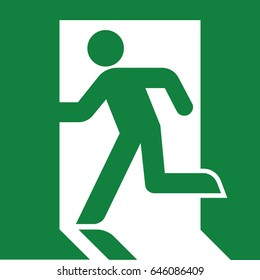 Vector green exit sign. Running man icon.