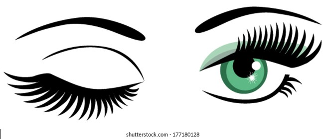 vector green eyes with long lashes winking