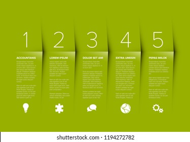 Vector green five steps progress template with descriptions and icons