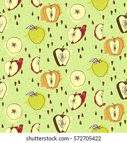 Vector green fresh apple seamless pattern for fabric
