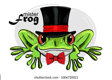 Vector green frog with black hat and red bow. Hand drawn illustration of dressed frog.