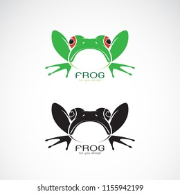 Vector of green frogs and black frog on white background. Amphibian. Animal. Frog Icon. Easy editable layered vector illustration.