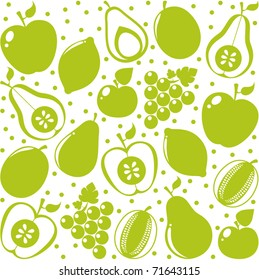 Vector green fruits background