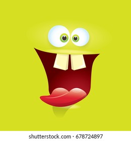 Halloween birthday images stock photos vectors shutterstock vector green funny monster face cartoon monster smiling face with big eyes and mouth for bookmarktalkfo Images
