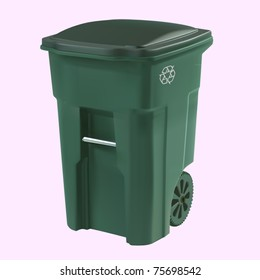 vector green garbage can