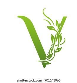Vector Green Garden Letter V Logo