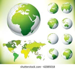 Vector Green Globe and World Map