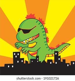 Vector green Godzilla is attacking the city, cartoon character