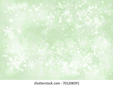Vector Green gradient winter paper background with the snow and snowflake border