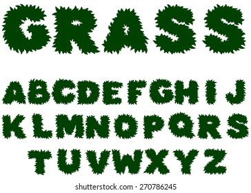 Vector green grass alphabet on a white background