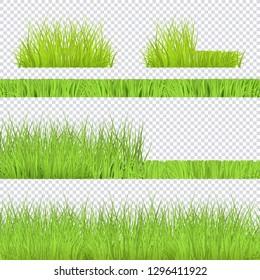 Vector green grass bush, borders set for summer landscape design on transparent background. Natural decoration element for parks, gardens or rural fields scenery. Lawn or plants object.