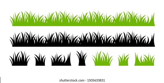 Vector green grass illustration: natural, organic, bio, eco label and shape on white background.