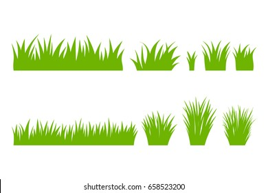 Vector green grass: natural, organic, bio, eco label and shape on white background.