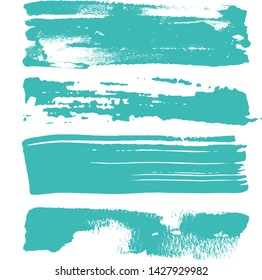 Vector - Green grungy Brush Strokes on white isolated background