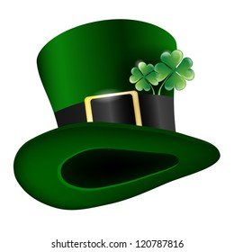 Vector green hat with clover leafs - Saint Patricks Day symbol