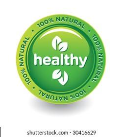 Vector Green Healthy Label