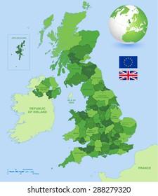 Vector Green high detail UK map