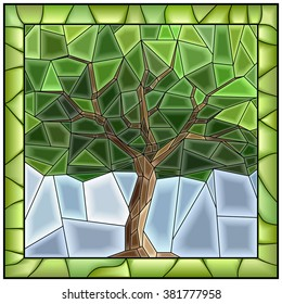 Vector green illustration of tree stained glass window with frame.