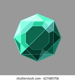 Vector green jewel on the gray background