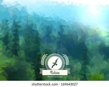 Vector green landscape with round badge. Mountain view. Forest. Retro label design with seagull and ribbon.
