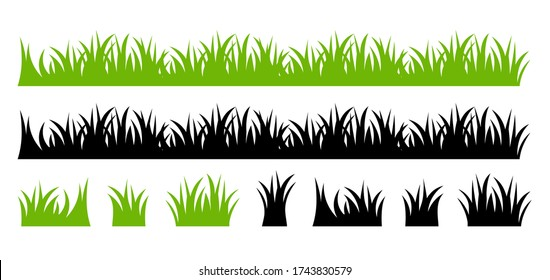 Vector green lawn grass texture illustration: natural, organic, bio, eco label and shape on white background. Ground land pattern.